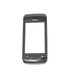 Přední kryt Nokia Asha 306 Grey / šedý + dotyková deska, Originá